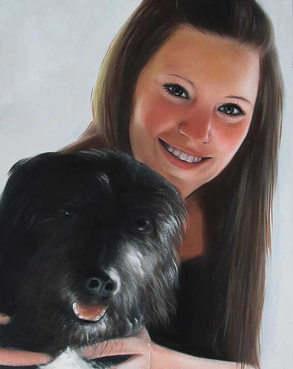 oil painting of a dog and a woman