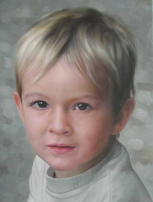 an oil painting portrait of a blonde young boy