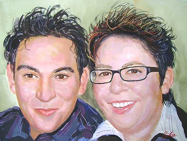 Portrait peinture pastel d'un joli couple