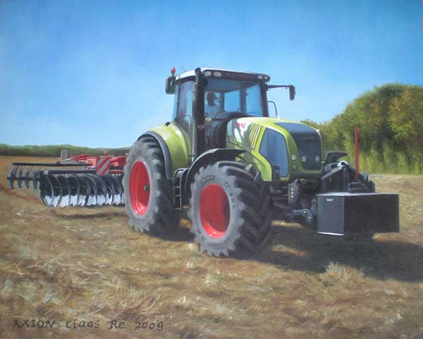 Handmade oil painting of a green tractor