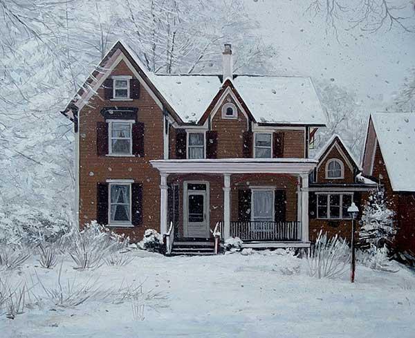 Casa nella neve ritratto ad olio da fotografia