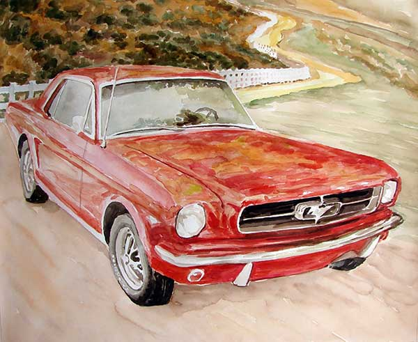 custom watercolor painting with red car by road