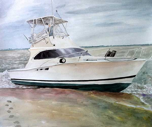 custom watercolor painting of a boat in the water
