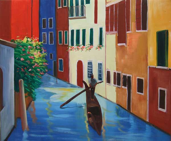 custom oil painting of a man in a canoe on a canal