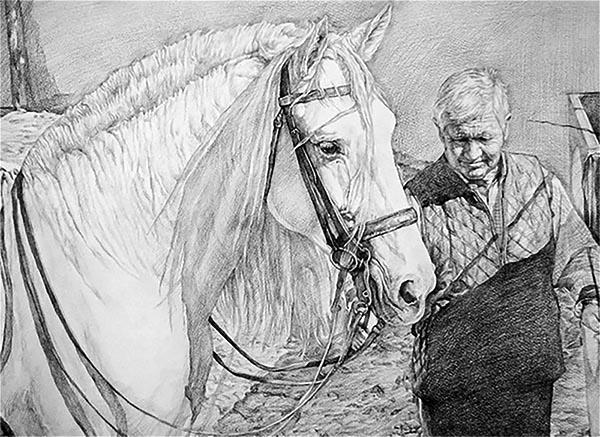pintura del caballo con el propietario