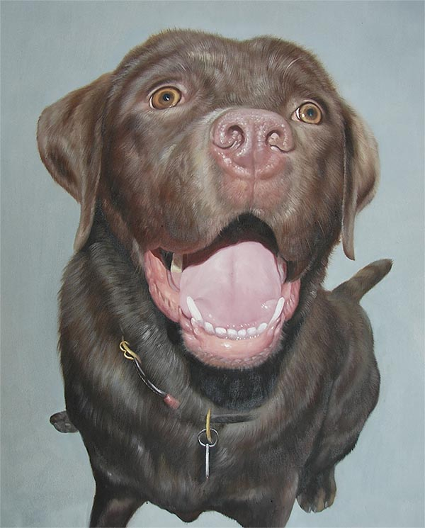 yawning dog painting
