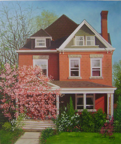 Handmade oil painting of a red brick house