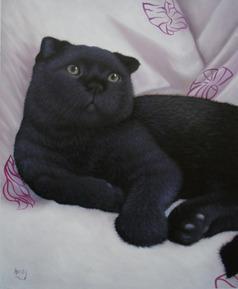 pittura ad olio di un gatto