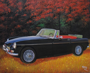 Custom oil handmade painting of a black car during fall