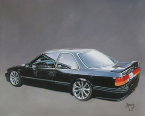 Custom oil handmade painting of a black car