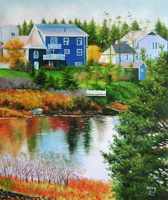 Handmade oil painting of a blue house by the river