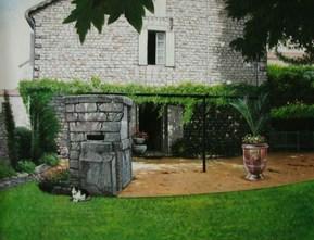 Peinture sur toile à l'acrylique d'une maison
