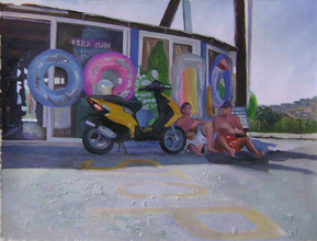 silhouette style oil painting of two boys by vespa