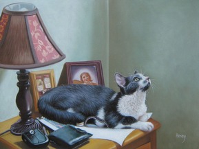 picture to painting of cat on table