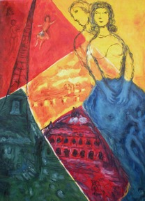custom oil abstract painting of tower and couple