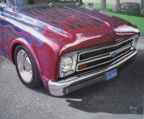 Custom oil handmade painting of an old car with flame hood