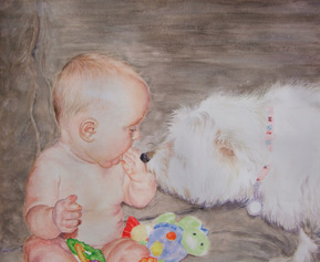 custom watercolor painting of baby with white dog