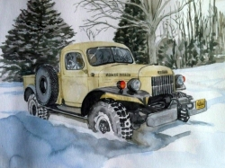 custom watercolor painting of a yellow snow tractor