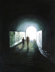 photo to oil painting silhouette walking through tunnel
