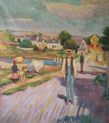 photo to painting of man walking near lake