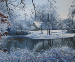 winter landscape painting on canvas