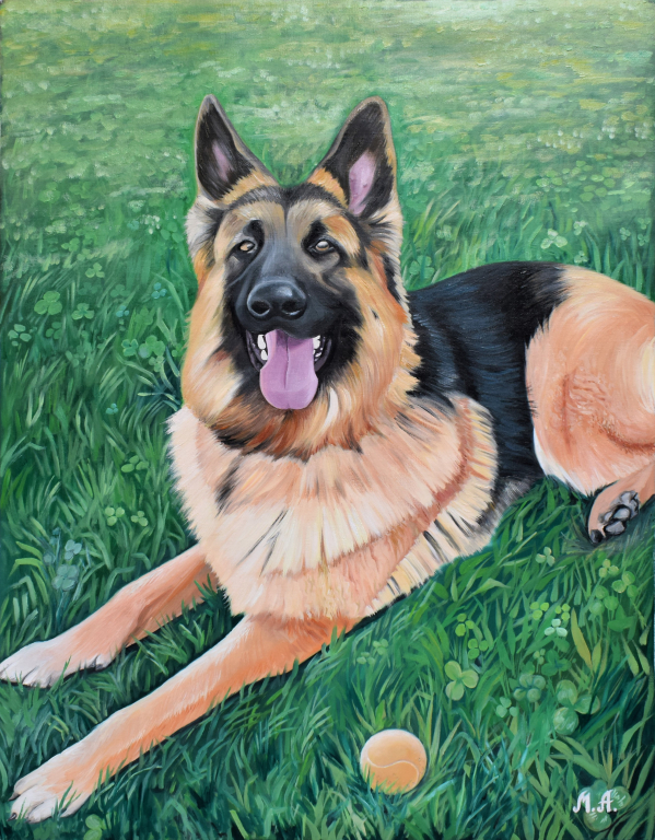 an oil painting of a smiling german shepherd in grass