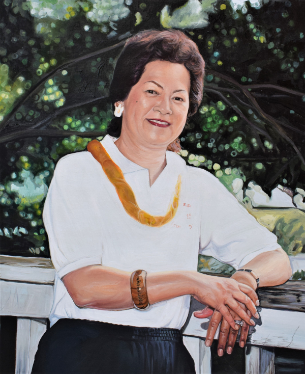 custom oil painting of a happy asian woman