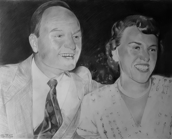 custom vintage charcoal drawing of a happy couple