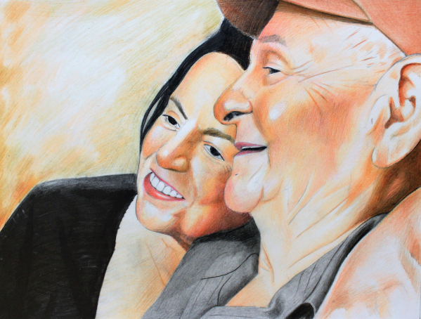 Color pencil drawing of the elderly couple