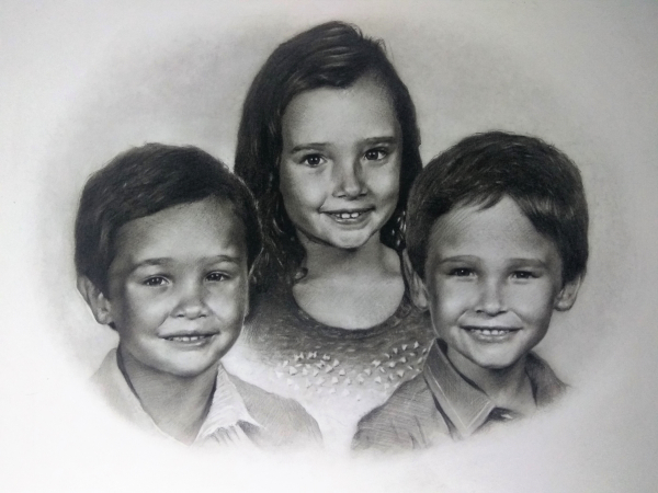 charcoal portrait of cute kids