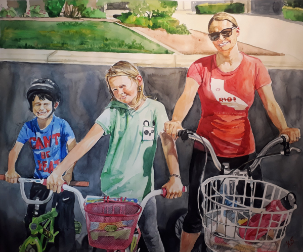 custom watercolor painting of family riding bikes