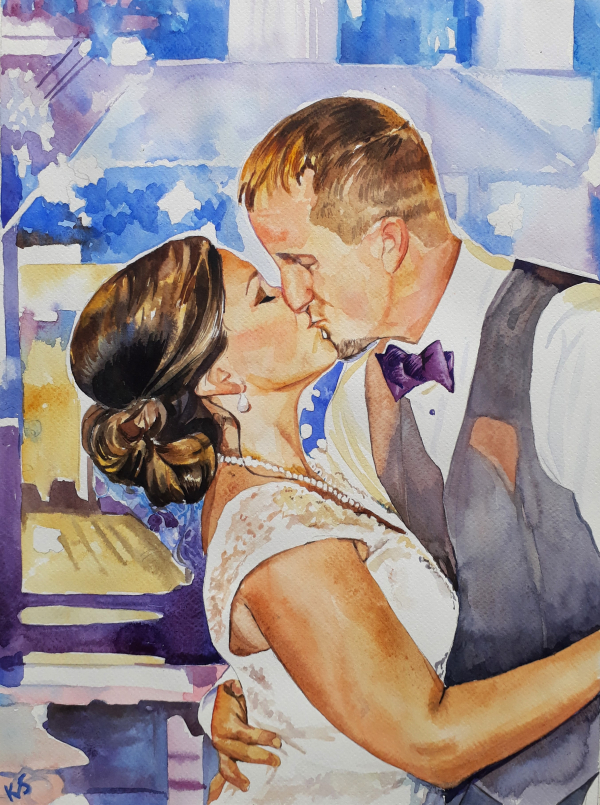 watercolor painting of bride and groom's first kiss