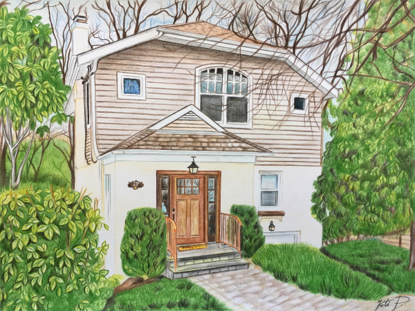 custom colored pencil drawing of a small cottage