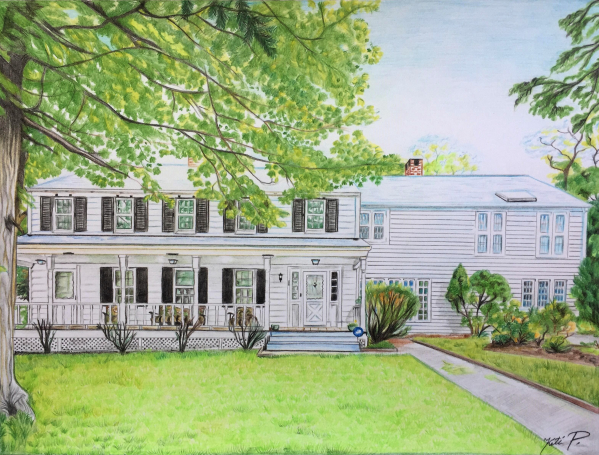 custom colored pencil drawing of a big white house