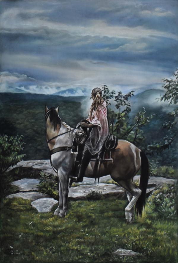 Portrait de femme en cheval