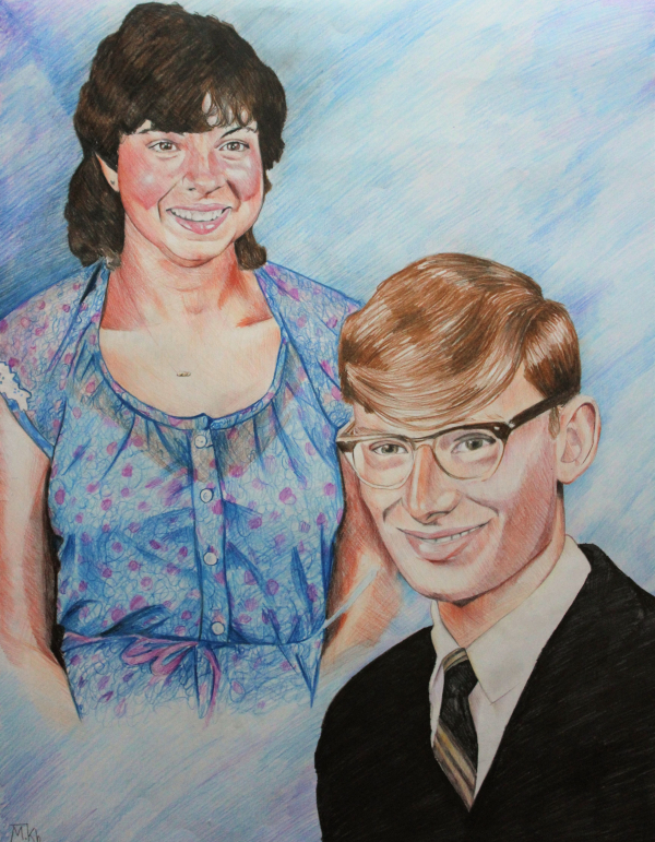 custom colored pencil drawing of a man and woman