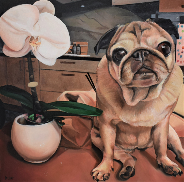 a handamde oil painting of a french bulldog