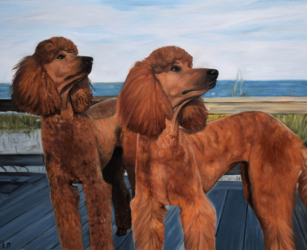 handmade oil painting of two brown poodles