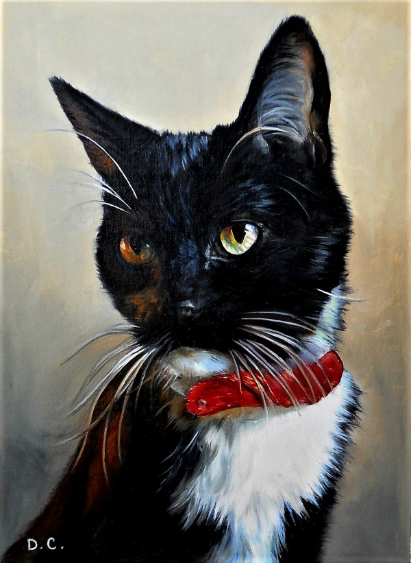 personalized black cat painting