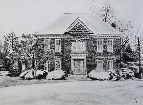 custom charcoal house painting