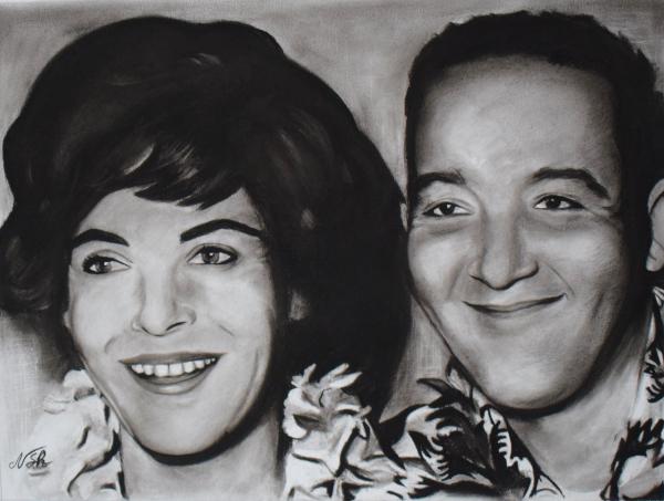 custom vintage style charcoal painting of hawaiian couple