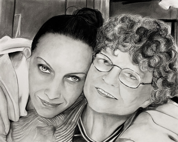 Beautiful charcoal drawing of a mother and daughter