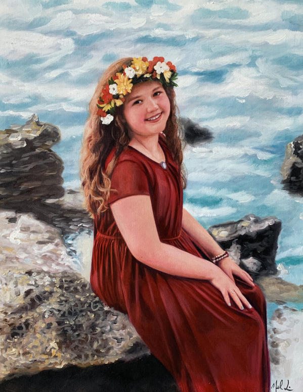 a custom ooil painting of a chubby child with flower crown