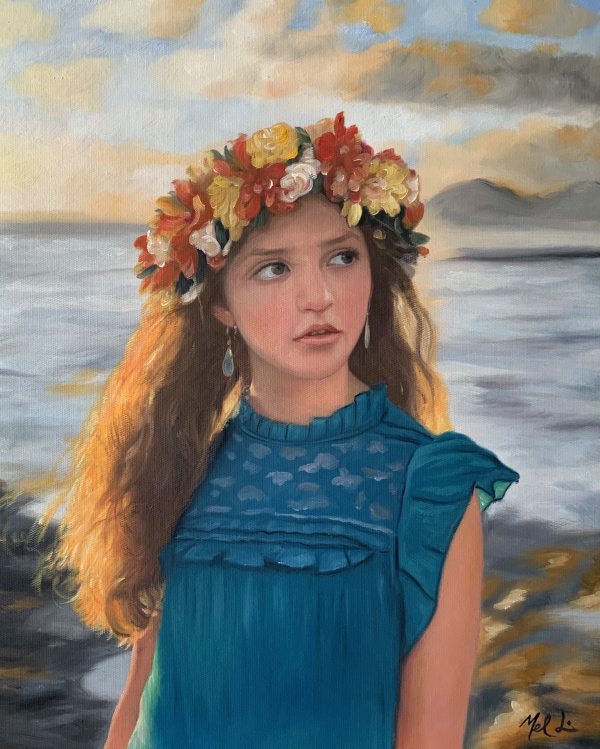 a custom oil painting of a child with flower crown