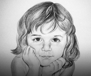 Children Black/White Pencil Sketches