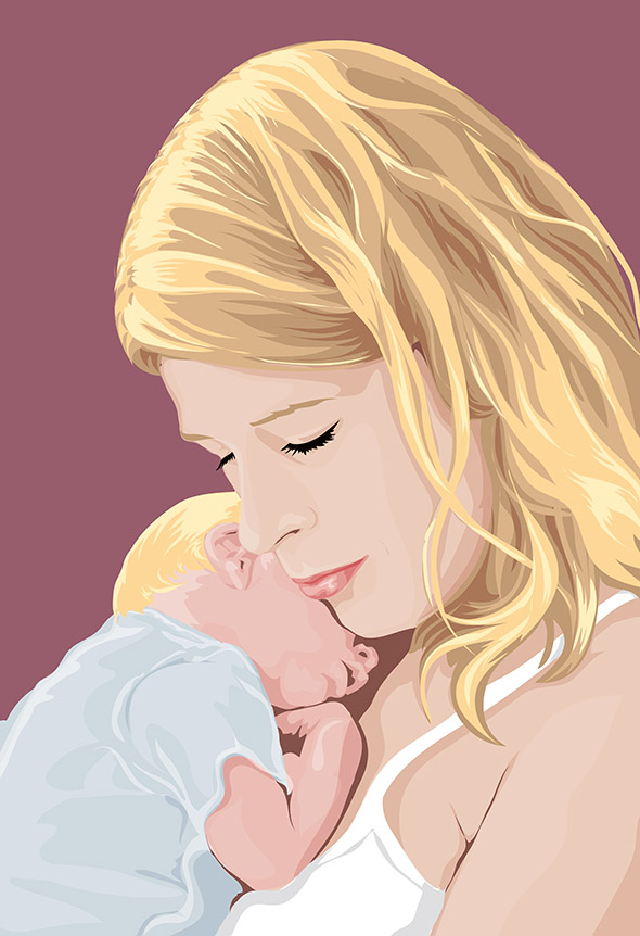 Sleeping Mother and Baby on Pop Art