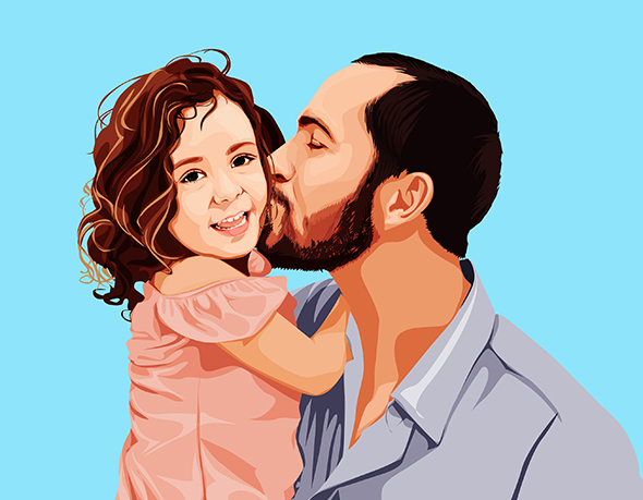 Bearded Dad Kissing Daughter on Pop Art from Print