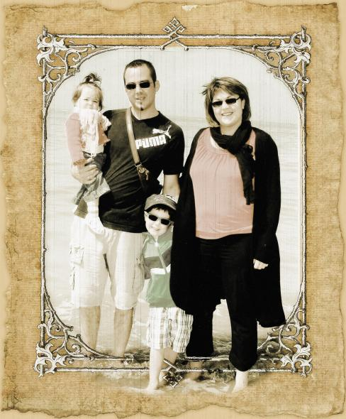 Pop Art Canvas of Family at the Beach