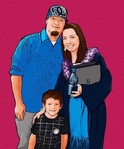 Family of Three on Pop Art Canvas