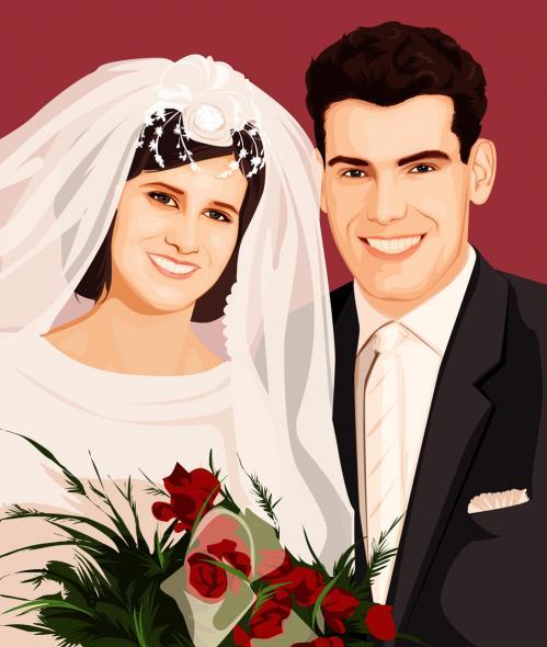 Hochzeitsfoto als Grafik Leinwanddruck